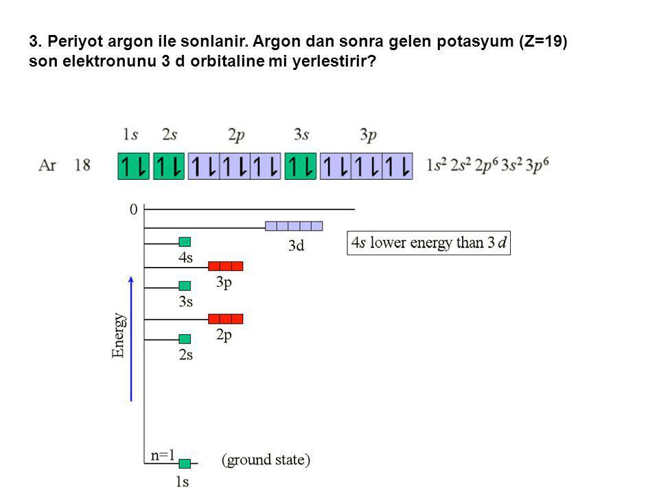 3. Periyot argon ile sonlanir. Argon dan sonra gelen potasyum (Z=19) son elektronunu 3 d orbitaline mi yerlestirir?