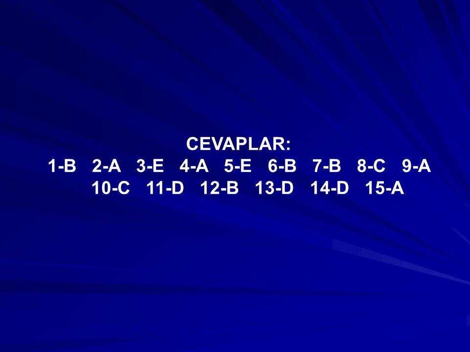CEVAPLAR: 1-B 2-A 3-E 4-A 5-E 6-B 7-B 8-C 9-A 10-C 11-D 12-B 13-D 14-D 15-A