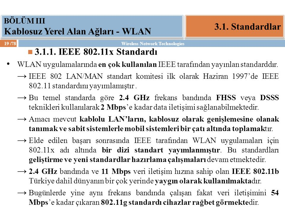 Wireless Network Technologies20 /78 3.1.