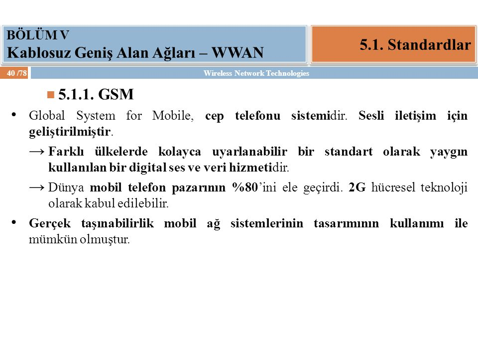 Wireless Network Technologies41 /78 5.1.