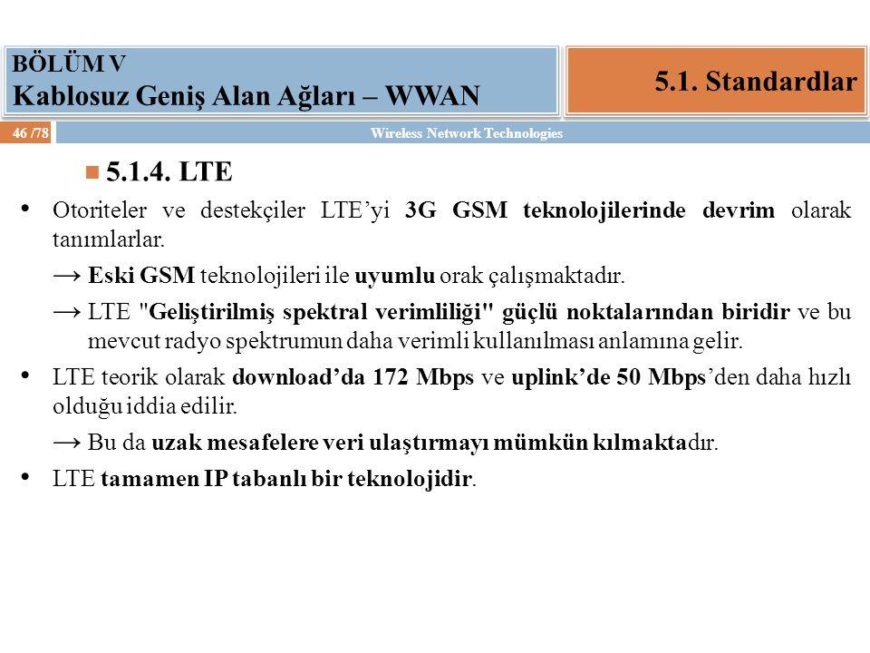 Wireless Network Technologies46 /78 5.1. Standardlar BÖLÜM V Kablosuz Geniş Alan Ağları – WWAN 5.1.4. LTE Otoriteler ve destekçiler LTE'yi 3G GSM tekn