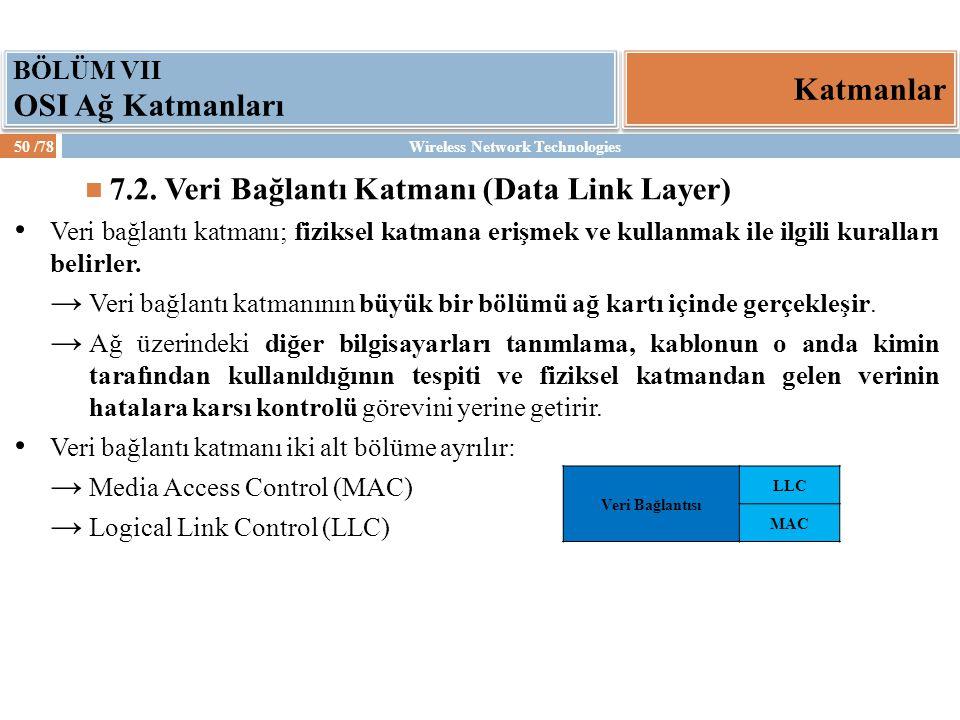 Wireless Network Technologies50 /78 Katmanlar BÖLÜM VII OSI Ağ Katmanları 7.2. Veri Bağlantı Katmanı (Data Link Layer) Veri bağlantı katmanı; fiziksel