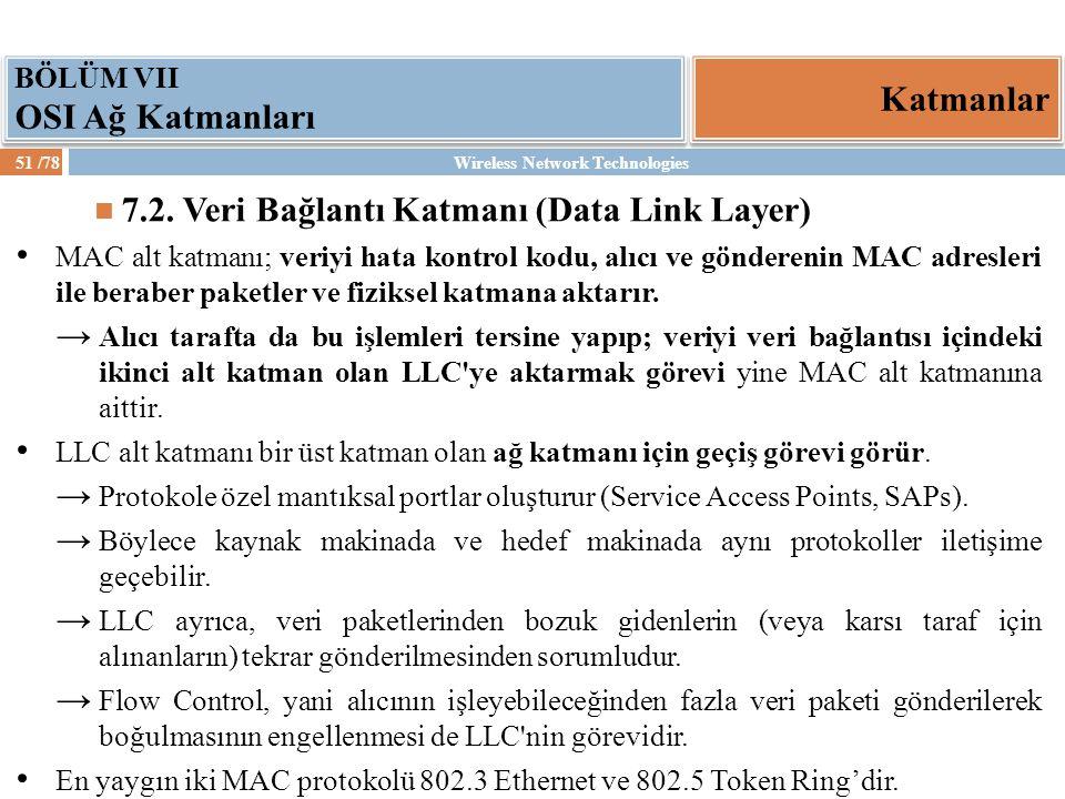 Wireless Network Technologies51 /78 Katmanlar BÖLÜM VII OSI Ağ Katmanları 7.2. Veri Bağlantı Katmanı (Data Link Layer) MAC alt katmanı; veriyi hata ko
