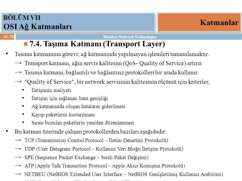 Wireless Network Technologies53 /78 Katmanlar BÖLÜM VII OSI Ağ Katmanları 7.4. Taşıma Katmanı (Transport Layer) Tasıma katmanının görevi; ağ katmanınd
