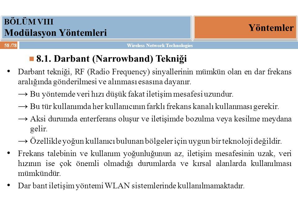 Wireless Network Technologies58 /78 Yöntemler BÖLÜM VIII Modülasyon Yöntemleri 8.1. Darbant (Narrowband) Tekniği Darbant tekniği, RF (Radio Frequency)