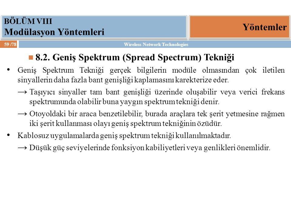 Wireless Network Technologies59 /78 Yöntemler BÖLÜM VIII Modülasyon Yöntemleri 8.2. Geniş Spektrum (Spread Spectrum) Tekniği Geniş Spektrum Tekniği ge
