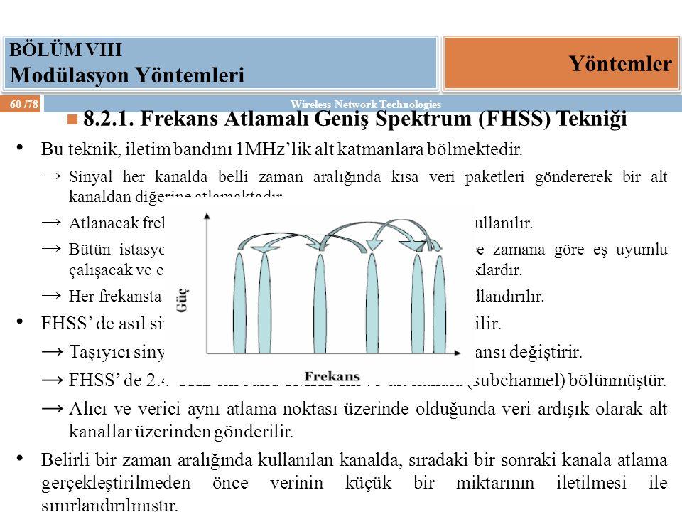 Wireless Network Technologies60 /78 Yöntemler BÖLÜM VIII Modülasyon Yöntemleri 8.2.1. Frekans Atlamalı Geniş Spektrum (FHSS) Tekniği Bu teknik, iletim