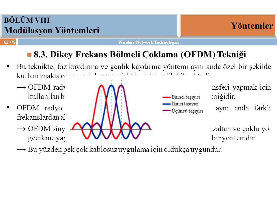 Wireless Network Technologies63 /78 Yöntemler BÖLÜM VIII Modülasyon Yöntemleri 8.3. Dikey Frekans Bölmeli Çoklama (OFDM) Tekniği Bu teknikte, faz kayd