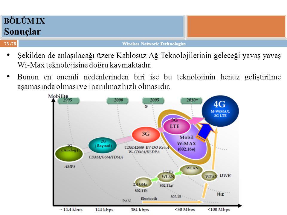 Wireless Network Technologies73 /78 BÖLÜM IX Sonuçlar Şekilden de anlaşılacağı üzere Kablosuz Ağ Teknolojilerinin geleceği yavaş yavaş Wi-Max teknoloj