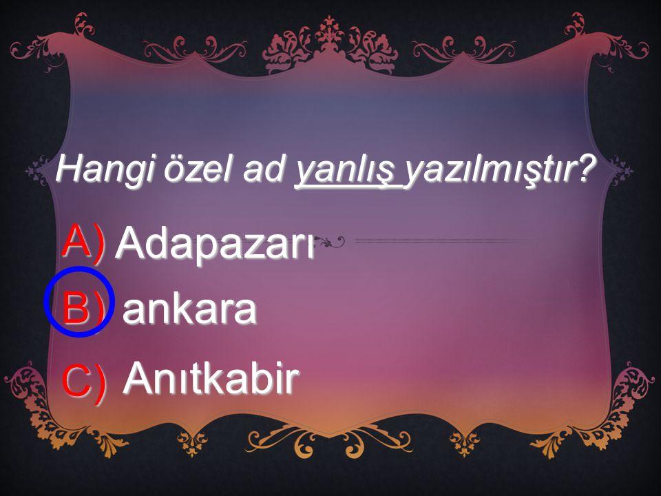 Hangi özel ad yanlış yazılmıştır? A) Adapazarı B) ankara C) Anıtkabir
