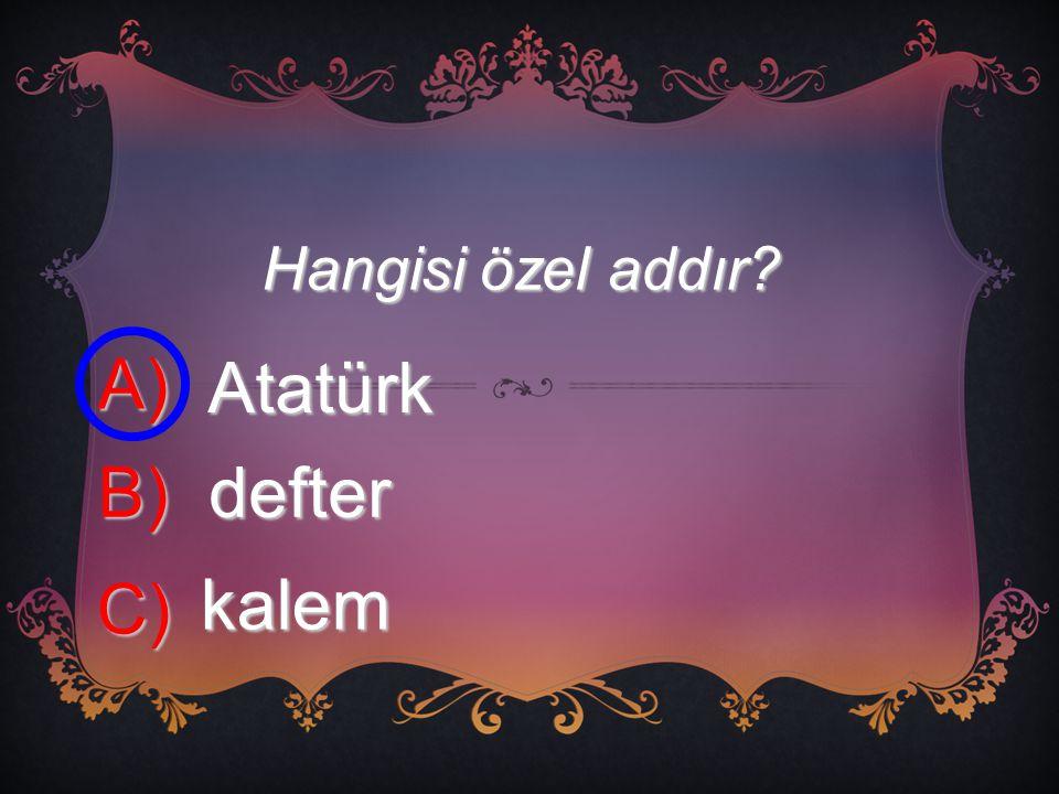 Hangisi özel addır? A) Atatürk B) defter C) kalem