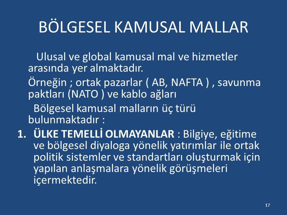 BÖLGESEL KAMUSAL MALLAR Ulusal ve global kamusal mal ve hizmetler arasında yer almaktadır. Örneğin ; ortak pazarlar ( AB, NAFTA ), savunma paktları (N