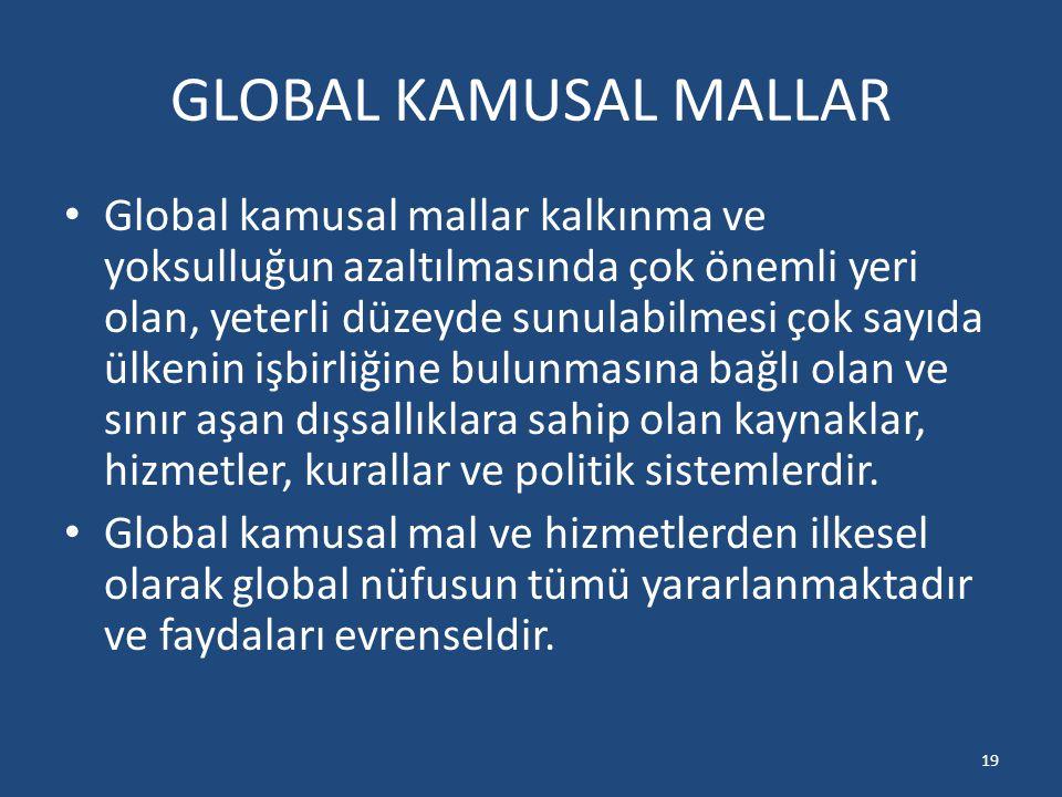GLOBAL KAMUSAL MALLAR Global kamusal mallar kalkınma ve yoksulluğun azaltılmasında çok önemli yeri olan, yeterli düzeyde sunulabilmesi çok sayıda ülke
