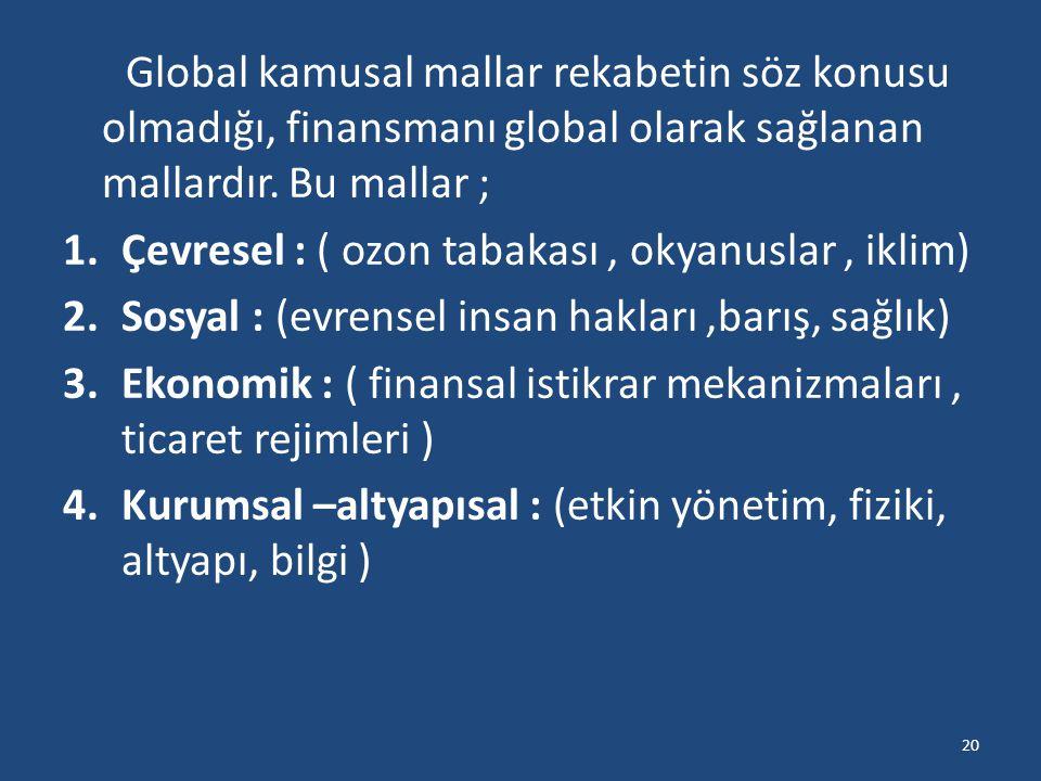 Global kamusal mallar rekabetin söz konusu olmadığı, finansmanı global olarak sağlanan mallardır. Bu mallar ; 1.Çevresel : ( ozon tabakası, okyanuslar