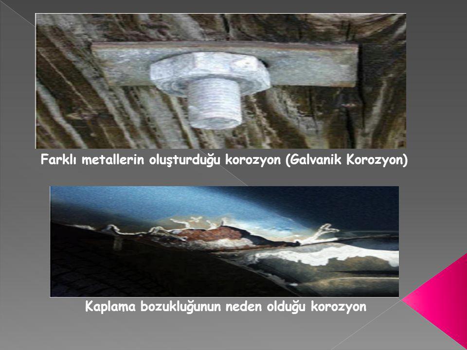 Farklı metallerin oluşturduğu korozyon (Galvanik Korozyon) Kaplama bozukluğunun neden olduğu korozyon