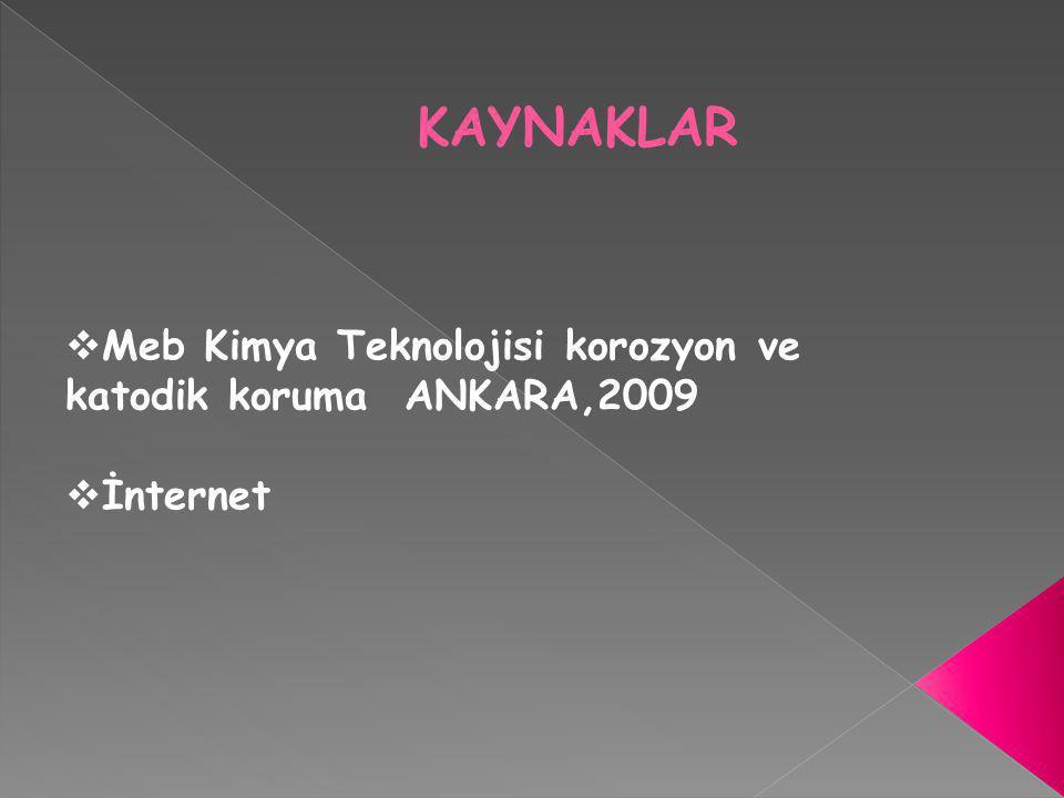 KAYNAKLAR  Meb Kimya Teknolojisi korozyon ve katodik koruma ANKARA,2009  İnternet