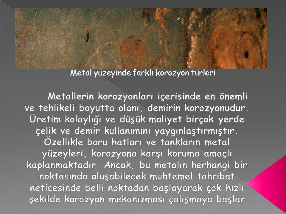 Metal yüzeyinde farklı korozyon türleri