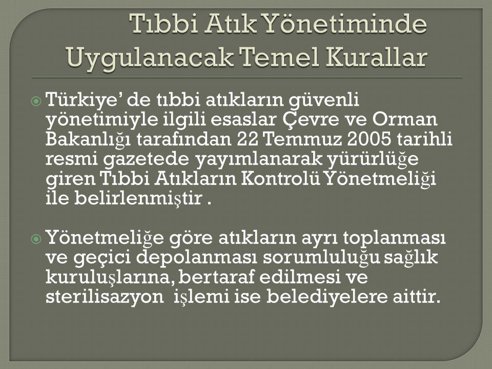  Türkiye' de tıbbi atıkların güvenli yönetimiyle ilgili esaslar Çevre ve Orman Bakanlı ğ ı tarafından 22 Temmuz 2005 tarihli resmi gazetede yayımlana