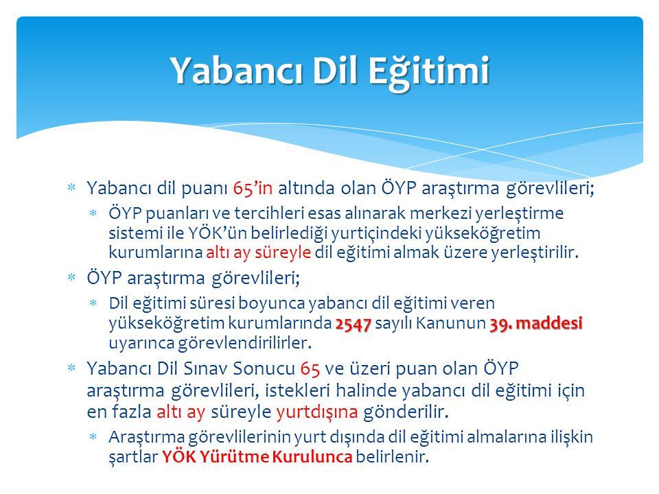  Yabancı dil puanı 65'in altında olan ÖYP araştırma görevlileri;  ÖYP puanları ve tercihleri esas alınarak merkezi yerleştirme sistemi ile YÖK'ün be