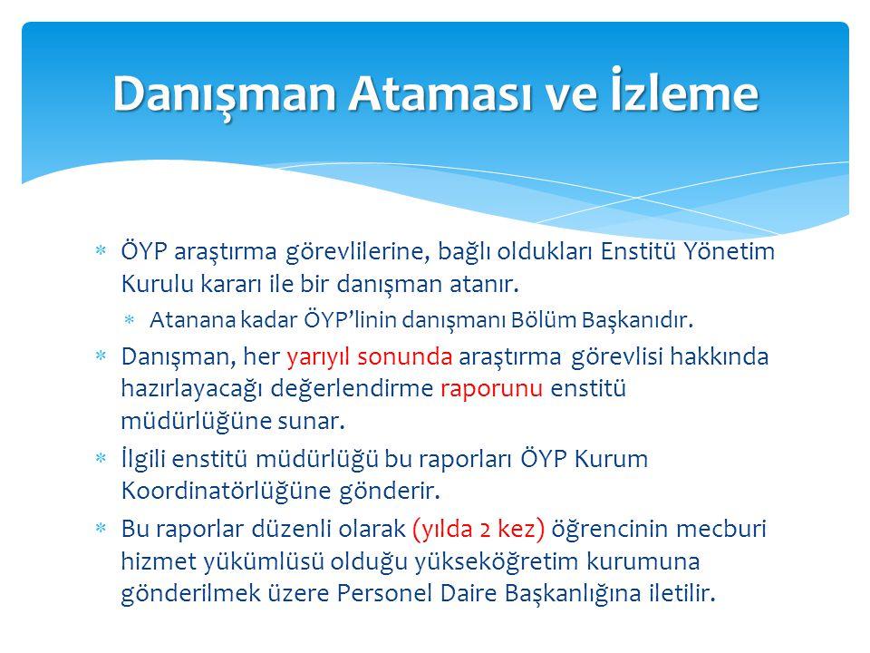  ÖYP araştırma görevlilerine, bağlı oldukları Enstitü Yönetim Kurulu kararı ile bir danışman atanır.  Atanana kadar ÖYP'linin danışmanı Bölüm Başkan