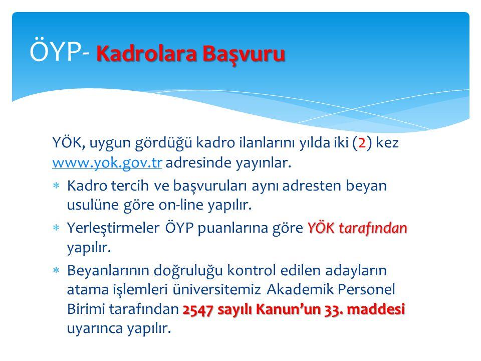 YÖK, uygun gördüğü kadro ilanlarını yılda iki ( 2 ) kez www.yok.gov.tr adresinde yayınlar. www.yok.gov.tr  Kadro tercih ve başvuruları aynı adresten