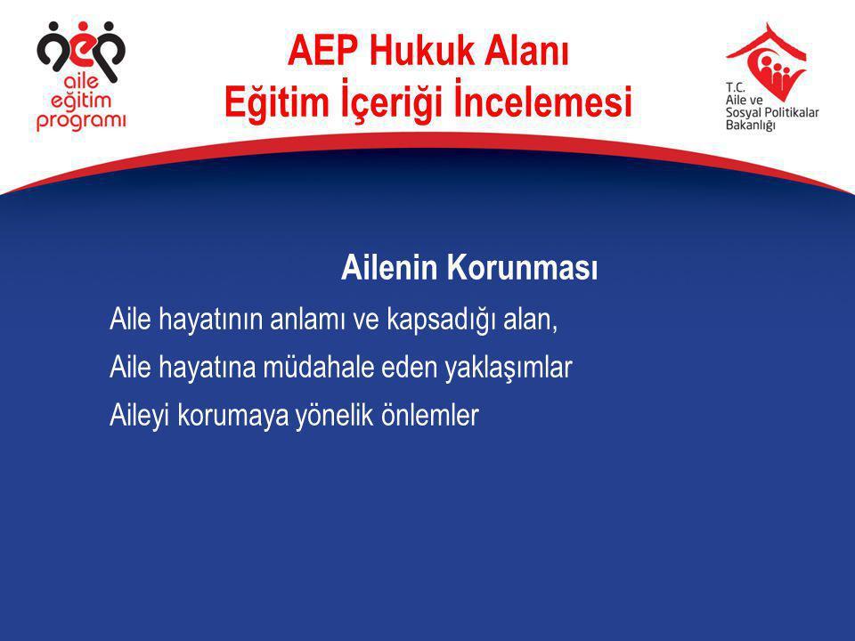 Ailenin Korunması Aile hayatının anlamı ve kapsadığı alan, Aile hayatına müdahale eden yaklaşımlar Aileyi korumaya yönelik önlemler AEP Hukuk Alanı Eğ