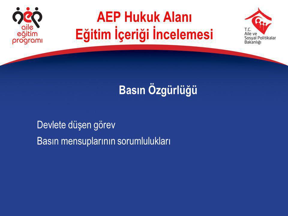 Basın Özgürlüğü Devlete düşen görev Basın mensuplarının sorumlulukları AEP Hukuk Alanı Eğitim İçeriği İncelemesi