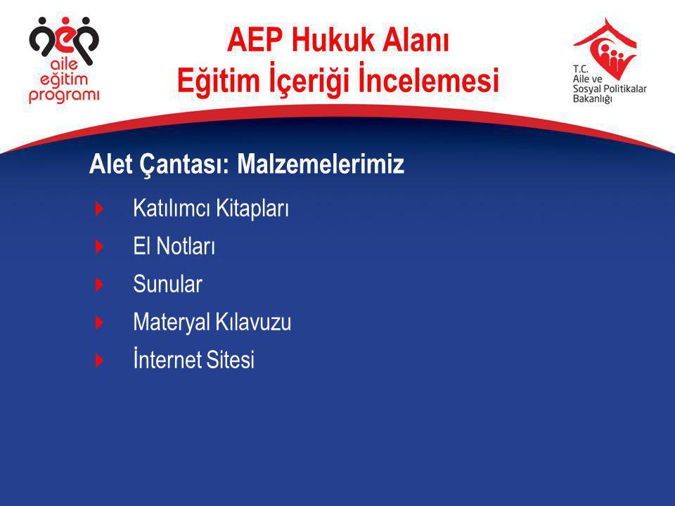  Katılımcı Kitapları  El Notları  Sunular  Materyal Kılavuzu  İnternet Sitesi Alet Çantası: Malzemelerimiz AEP Hukuk Alanı Eğitim İçeriği İncelem