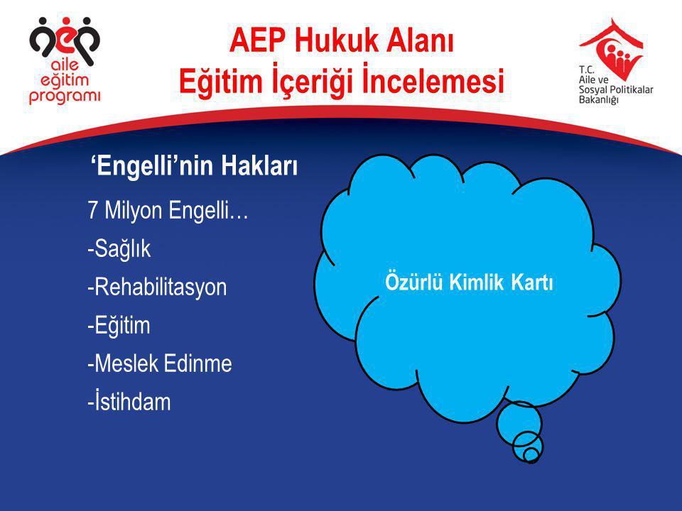 7 Milyon Engelli… -Sağlık -Rehabilitasyon -Eğitim -Meslek Edinme -İstihdam 'Engelli'nin Hakları AEP Hukuk Alanı Eğitim İçeriği İncelemesi Özürlü Kimli