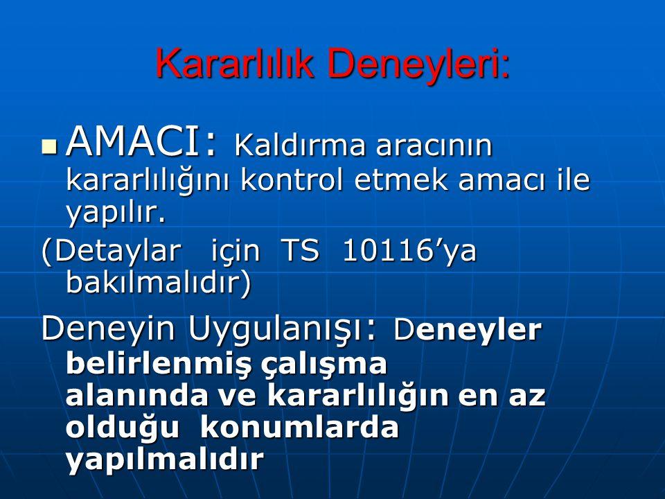 Kararlılık Deneyleri: AMACI: Kaldırma aracının kararlılığını kontrol etmek amacı ile yapılır.