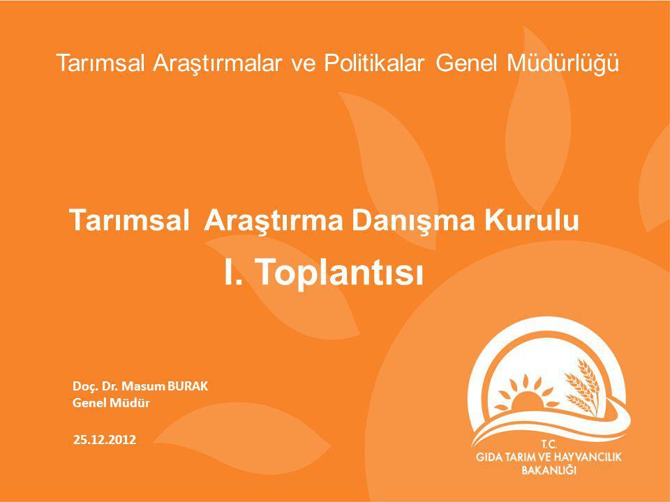 25.12.2012 Doç. Dr. Masum BURAK Genel Müdür Tarımsal Araştırma Danışma Kurulu I. Toplantısı Tarımsal Araştırmalar ve Politikalar Genel Müdürlüğü