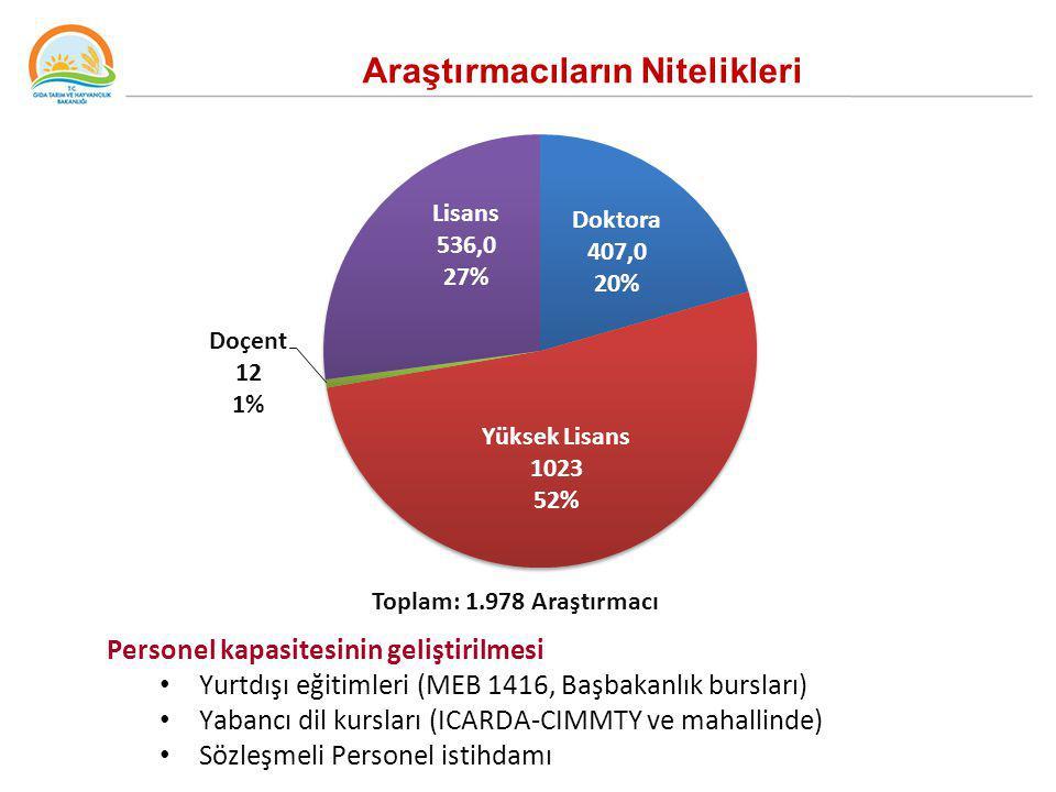 Toplam: 1.978 Araştırmacı Araştırmacıların Nitelikleri Personel kapasitesinin geliştirilmesi Yurtdışı eğitimleri (MEB 1416, Başbakanlık bursları) Yaba