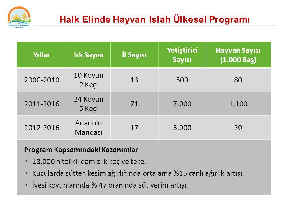 Halk Elinde Hayvan Islah Ülkesel Programı YıllarIrk Sayısıİl Sayısı Yetiştirici Sayısı Hayvan Sayısı (1.000 Baş) 2006-2010 10 Koyun 2 Keçi 1350080 201