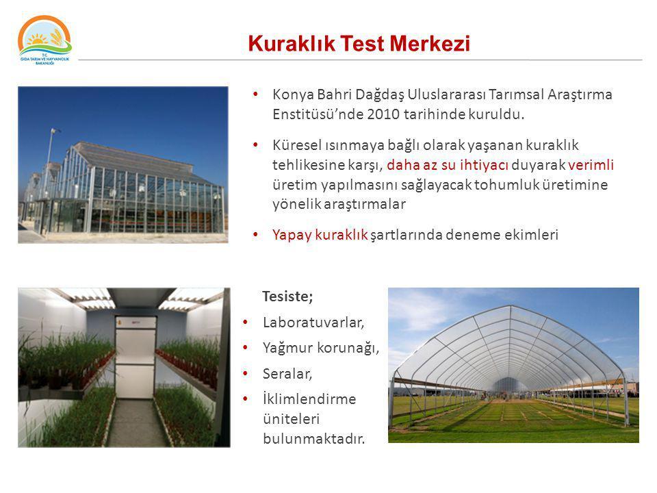 Kuraklık Test Merkezi Konya Bahri Dağdaş Uluslararası Tarımsal Araştırma Enstitüsü'nde 2010 tarihinde kuruldu. Küresel ısınmaya bağlı olarak yaşanan k