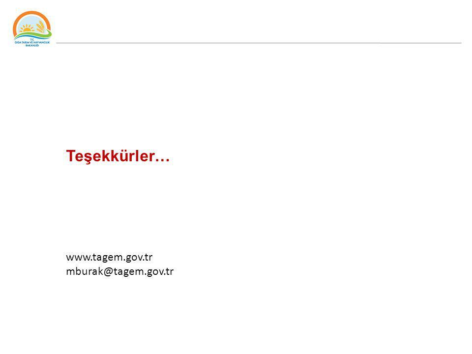 TEŞEKKÜRLER www.gsb.gov.tr Teşekkürler… www.tagem.gov.tr mburak@tagem.gov.tr