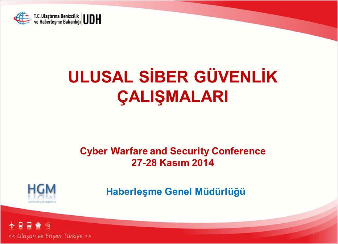 1 Cyber Warfare and Security Conference 27-28 Kasım 2014 Haberleşme Genel Müdürlüğü ULUSAL SİBER GÜVENLİK ÇALIŞMALARI