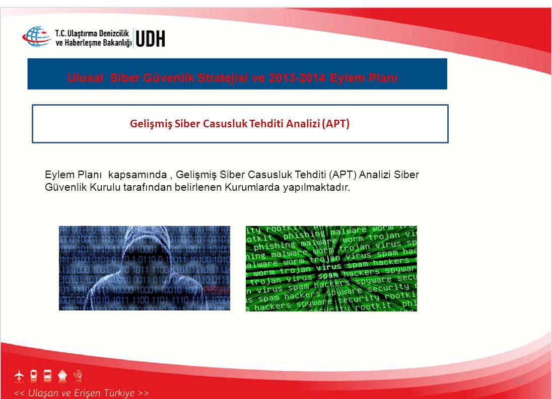 17 Ulusal Siber Güvenlik Stratejisi ve 2013-2014 Eylem Planı Gelişmiş Siber Casusluk Tehditi Analizi (APT) Eylem Planı kapsamında, Gelişmiş Siber Casu