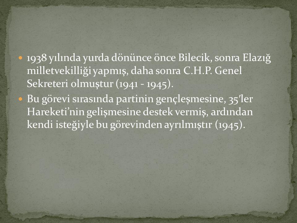 1938 yılında yurda dönünce önce Bilecik, sonra Elazığ milletvekilliği yapmış, daha sonra C.H.P.