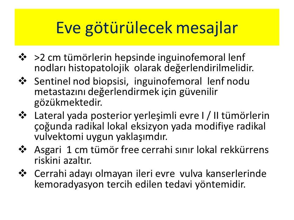  >2 cm tümörlerin hepsinde inguinofemoral lenf nodları histopatolojik olarak değerlendirilmelidir.  Sentinel nod biopsisi, inguinofemoral lenf nodu