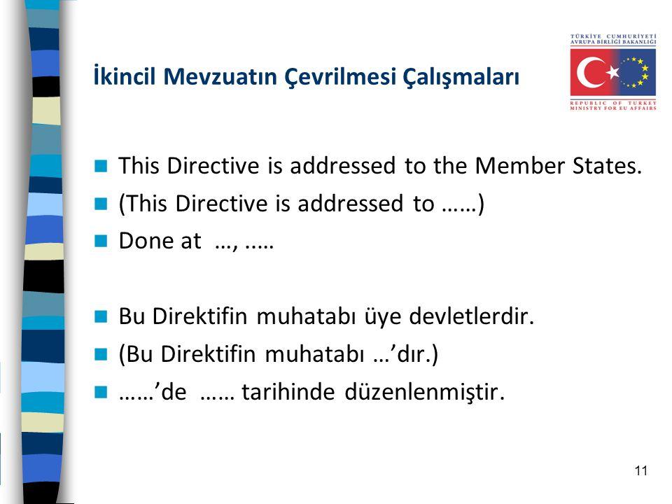 İkincil Mevzuatın Çevrilmesi Çalışmaları This Directive is addressed to the Member States. (This Directive is addressed to ……) Done at …,..… Bu Direkt