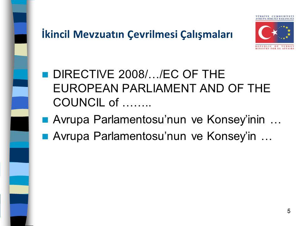 İkincil Mevzuatın Çevrilmesi Çalışmaları DIRECTIVE 2008/…/EC OF THE EUROPEAN PARLIAMENT AND OF THE COUNCIL of …….. Avrupa Parlamentosu'nun ve Konsey'i