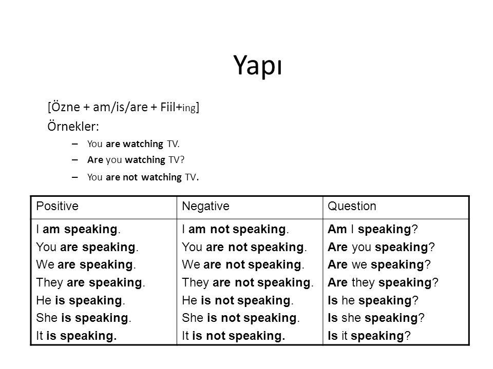 Yapı [Özne + am/is/are + Fiil+ ing ] Örnekler: – You are watching TV. – Are you watching TV? – You are not watching TV. PositiveNegativeQuestion I am