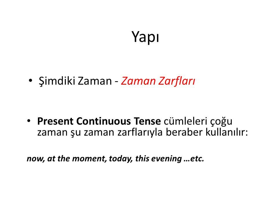 Şimdiki Zaman - Zaman Zarfları Present Continuous Tense cümleleri çoğu zaman şu zaman zarflarıyla beraber kullanılır: now, at the moment, today, this