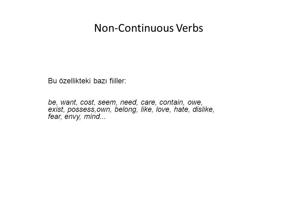 Non-Continuous Verbs Bu özellikteki bazı fiiller: be, want, cost, seem, need, care, contain, owe, exist, possess,own, belong, like, love, hate, dislik