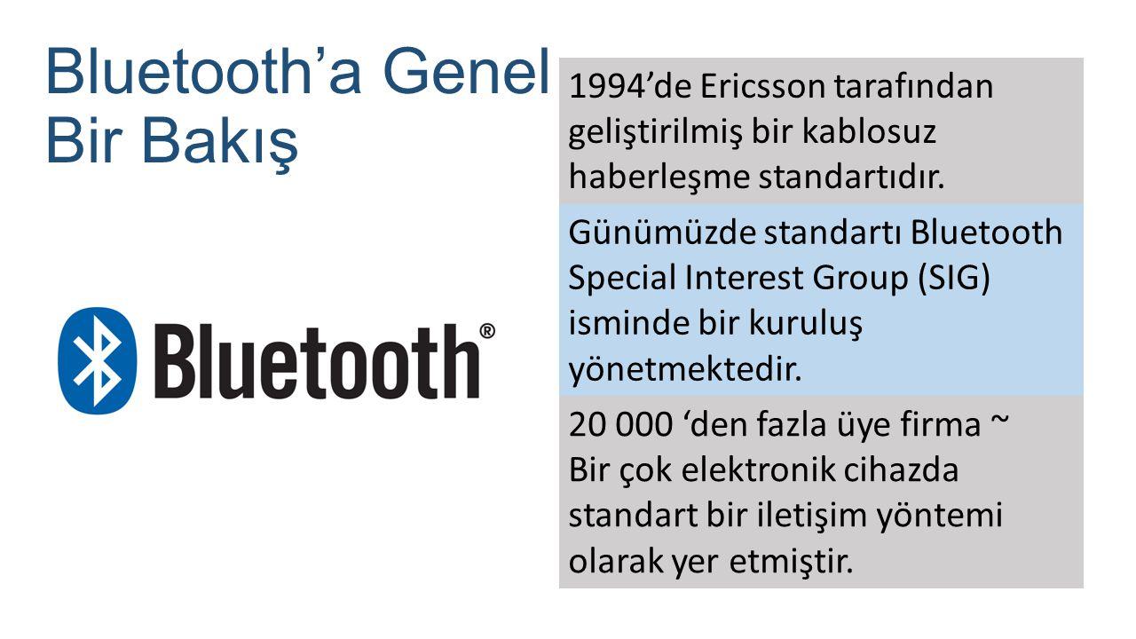Bluetooth'a Genel Bir Bakış 1994'de Ericsson tarafından geliştirilmiş bir kablosuz haberleşme standartıdır. Günümüzde standartı Bluetooth Special Inte