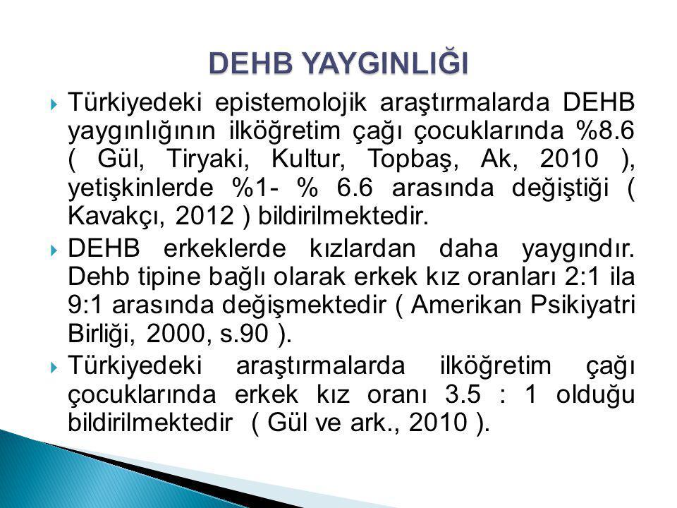  Türkiyedeki epistemolojik araştırmalarda DEHB yaygınlığının ilköğretim çağı çocuklarında %8.6 ( Gül, Tiryaki, Kultur, Topbaş, Ak, 2010 ), yetişkinle