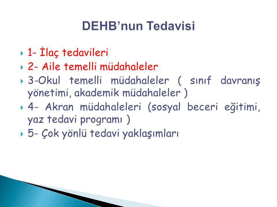  1- İlaç tedavileri  2- Aile temelli müdahaleler  3-Okul temelli müdahaleler ( sınıf davranış yönetimi, akademik müdahaleler )  4- Akran müdahalel