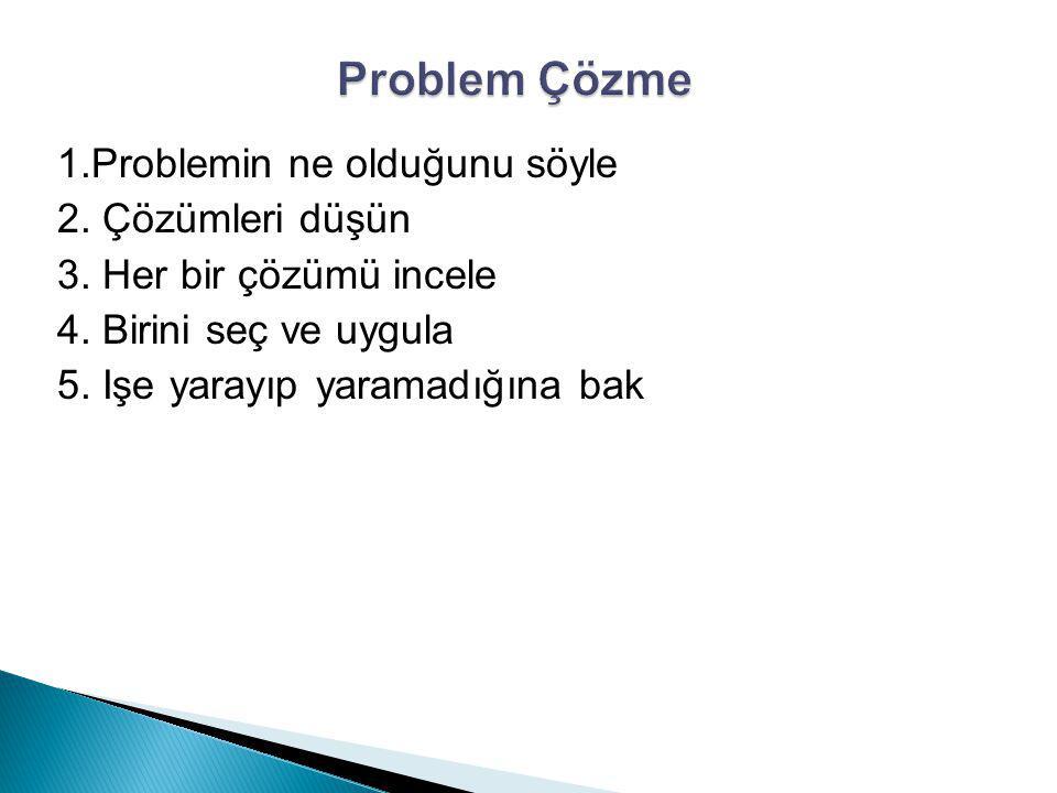 1.Problemin ne olduğunu söyle 2. Çözümleri düşün 3. Her bir çözümü incele 4. Birini seç ve uygula 5. Işe yarayıp yaramadığına bak