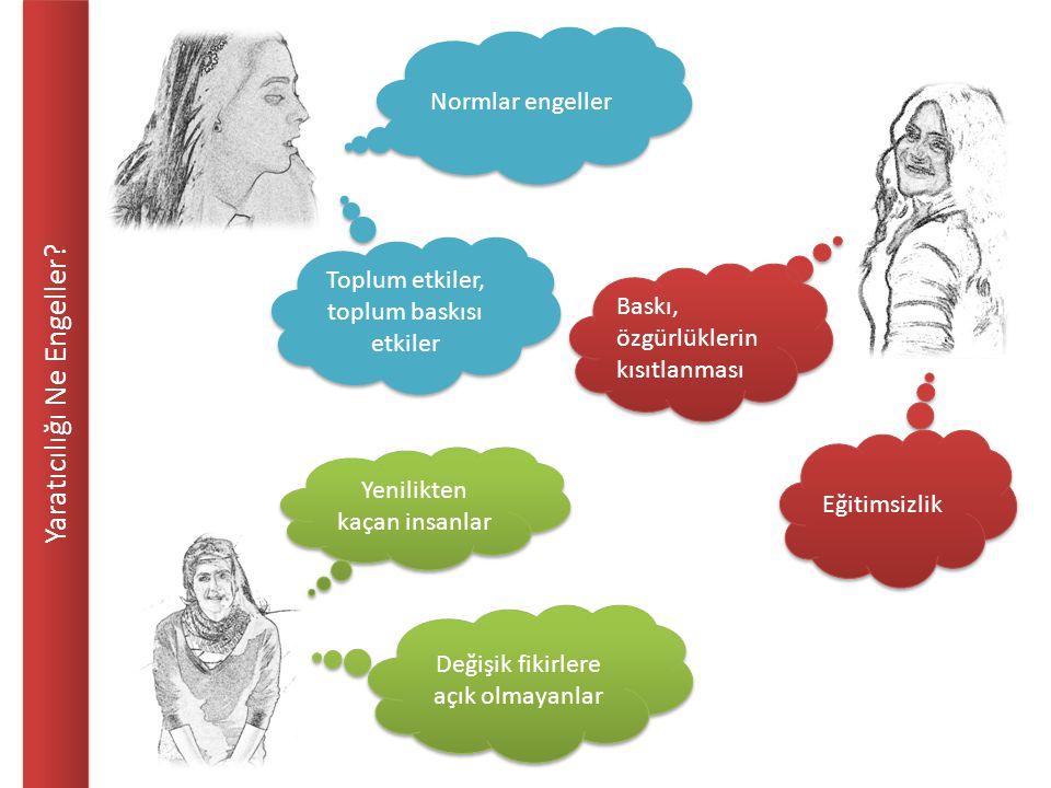 Yaratıcılığı Ne Engeller? Baskı, özgürlüklerin kısıtlanması Eğitimsizlik Normlar engeller Toplum etkiler, toplum baskısı etkiler Değişik fikirlere açı