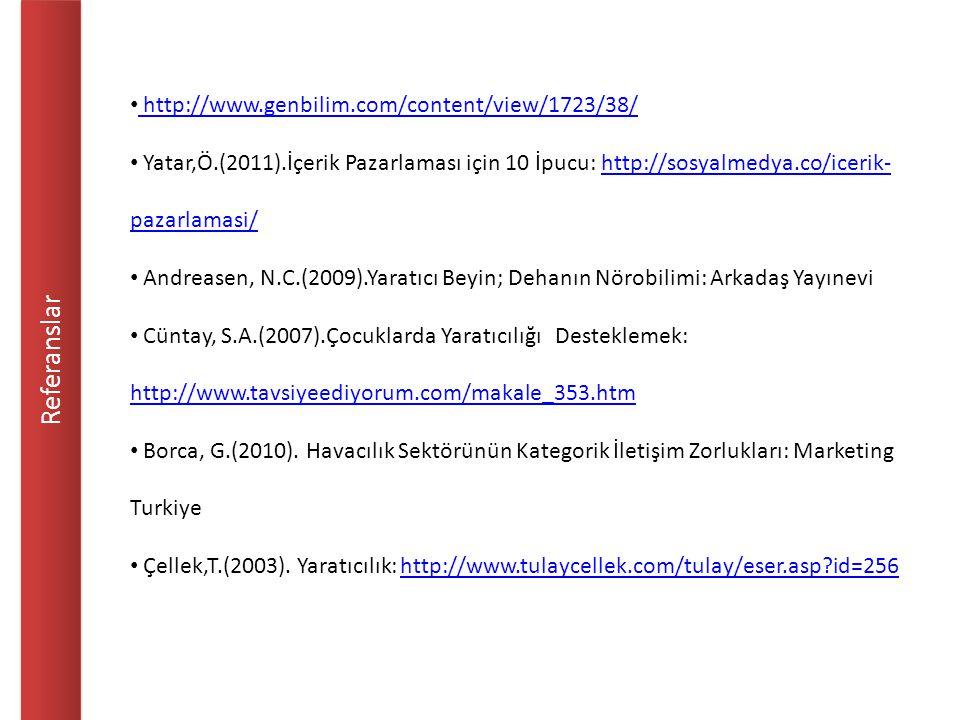 Referanslar http://www.genbilim.com/content/view/1723/38/ Yatar,Ö.(2011).İçerik Pazarlaması için 10 İpucu: http://sosyalmedya.co/icerik- pazarlamasi/http://sosyalmedya.co/icerik- pazarlamasi/ Andreasen, N.C.(2009).Yaratıcı Beyin; Dehanın Nörobilimi: Arkadaş Yayınevi Cüntay, S.A.(2007).Çocuklarda Yaratıcılığı Desteklemek: http://www.tavsiyeediyorum.com/makale_353.htm http://www.tavsiyeediyorum.com/makale_353.htm Borca, G.(2010).